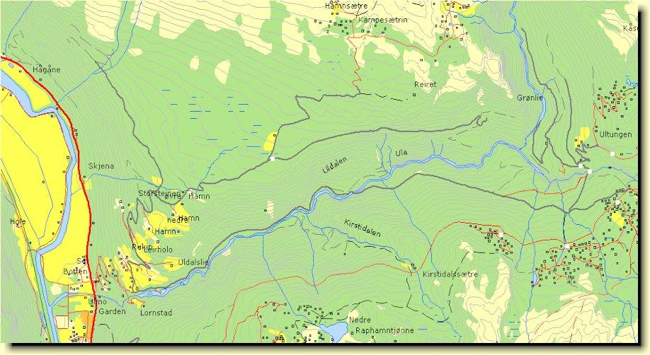 Kart over Uldalen som viser Øvre Havn og Reiret